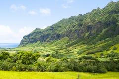 Valle de Kaawa con el sol Oahu Hawaii Estados Unidos Foto de archivo