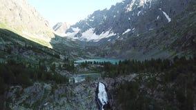 Valle de Kuiguk Montañas de Altai Paisaje de la visión aérea almacen de metraje de vídeo