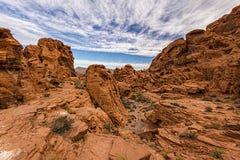 Valle de la formación de roca del fuego Fotos de archivo