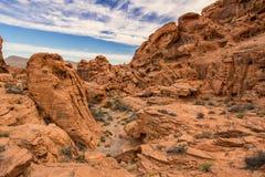 Valle de la formación de roca del fuego Fotografía de archivo