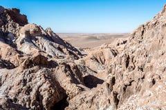 Valle-De-La Luna - Atacama-Wüste, einsames Auto Stockbilder