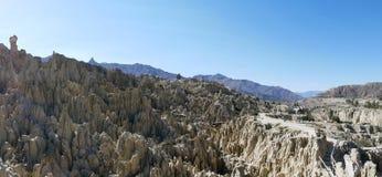 Valle de la Luna - Bizarre lunar landscape with unique rock formations. Valle de la Luna in La Paz, Bolivia royalty free stock images