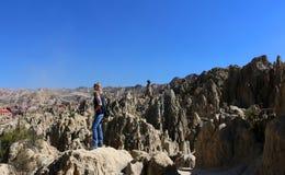 Valle de la Luna - Bizarre lunar landscape with unique rock formations. Valle de la Luna in La Paz, Bolivia stock images