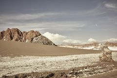 Valle DE La Luna Chile Landscape Scenery en Rotsvormingen stock afbeelding