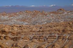 Valle de la Luna - dal av månen och detäckte volcanoesna, Atacama öken, Chile royaltyfri fotografi