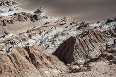 Valle de la Luna Moon Valley i den Atacama öknen nära San Pedro de Atacama, Antofagasta - Chile Arkivfoton