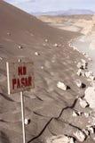 Valle de la Luna near San Pedro, Chile. A sign saying 'no pasar' in the Valle de la Luna Stock Image