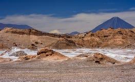 Valle de la Luna  Valley of the moon, Atacama desert, Chile. Valle de la luna with Licancabur volcano in the Atacama desert , San Pedro de atacama, Chile Royalty Free Stock Photo