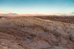 Valle de la Luna Valley of the Moon landscape in the Atacama Desert, north of Chile. The wilderness and desolation resembles the surface of Mars or the Moon Stock Photography