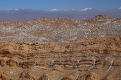 Valle de la Luna - Valley of the Moon and snow-covered volcanoes, Atacama Desert, Chile royalty free stock photography