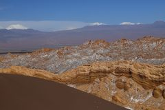 Valle de la Luna - Valley of the Moon and snow-covered volcanoes, Atacama Desert, Chile royalty free stock images