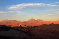 Valle de la Luna, valley of the moon, Volcan Lincancabur in the background, Atacama desert Chile Royalty Free Stock Photo