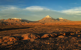 Valle de la Luna, view on the Licancabur Volcanoe at sunset, Atacame desert, Northern Chile. Licancabur is a stratovolcano on the border between Bolivia and Stock Images