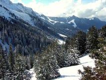 Valle de la montaña en día asoleado Imágenes de archivo libres de regalías