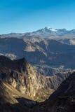 Valle de la montaña en la puesta del sol Fotografía de archivo libre de regalías
