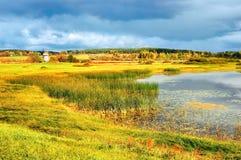 Valle de oro del otoño del paisaje del otoño de la opinión pintoresca del otoño y pequeño lago Fotografía de archivo libre de regalías