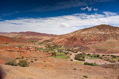 Valle de Ounilla, Marruecos, alto paisaje del atlas Árboles del Argan en el th Fotos de archivo libres de regalías