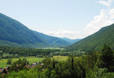 Valle de Soca cerca de Kobarid Imagenes de archivo