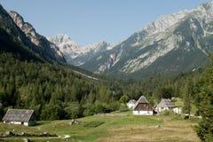 Valle de Zadnja Trenta con la cumbre de Bavski Grintavec en el parque nacional de Triglav en Julian Alps en Eslovenia Imagen de archivo