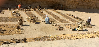 Valle degli archeologi di re Luxor Egitto che lavorano con l'identificazione e l'assemblea preistoriche del coccio delle terragli Fotografia Stock Libera da Diritti