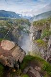 Valle del canyon della cascata di Voringsfossen, Norvegia Fotografie Stock Libere da Diritti