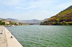 Valle del Duero: Riva del fiume di Duero con il ponte e vigne in Pinhao, Portogallo Immagine Stock Libera da Diritti