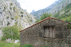 Valle del Duje, Cabrales ( Spain ). Cottage and Duje River Valley, with the Cuetu Vierru in the background, in Cabrales, Asturias (Spain&#x29 Royalty Free Stock Photo