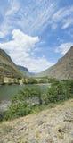 Valle del fiume Chulyshman Panorama di grande dimensione Montagne di Altai, Siberia, Russia Fotografie Stock Libere da Diritti
