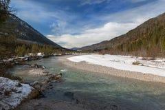 Valle del fiume di Isar, Baviera, alpi tedesche Fotografie Stock