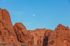Valle del fuego Nevada Full Moon Foto de archivo