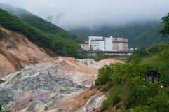 Valle del infierno de Jigokudani y hotel de Daiichi Takimotokan Foto de archivo libre de regalías