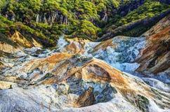 Valle del infierno en Japón septentrional Foto de archivo libre de regalías