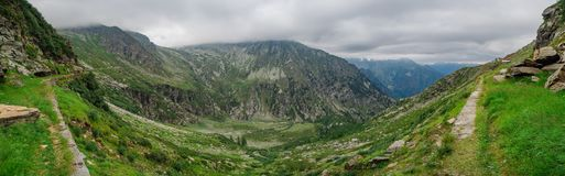 Valle del lago Camposecco, Piemonte, Italia Fotografia Stock Libera da Diritti