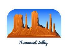 Valle del monumento Montañas y picos y paisaje temprano en una luz del día viaje o el acampar, subiendo Tops al aire libre de la  stock de ilustración