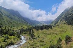 Valle del río de Bilyagidon, el Cáucaso, Rusia Imagen de archivo