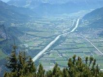 Valle del Rin entre Sargans y Landqart Imagen de archivo libre de regalías