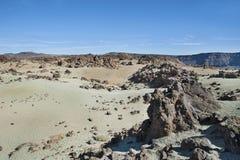 valle del tipo di deserto alla base di Pico del Teide, Tenerife, isole Canarie, Spagna Fotografia Stock Libera da Diritti