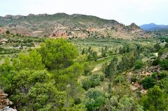 Valle del Turia. Serranos region over the river Turia by Domeño Area with low population density , geographic capital Losa del Obispo royalty free stock images