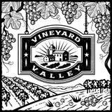 Valle del viñedo blanco y negro Fotografía de archivo