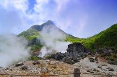 Valle del vulcano in tamago di kuro e del Giappone (uova nere) Fotografia Stock