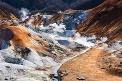 Valle dell'inferno della sorgente di acqua calda o di Jigokudani di Noboribetsu fotografia stock