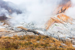 Valle dell'inferno di Jigokudani al sera tardi immagine stock