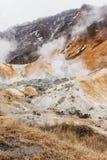 Valle dell'inferno di Noboribetsu Jigokudani: La valle del vulcano ha ottenuto il suo nome dall'odore solforico immagini stock libere da diritti