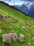 Valle della montagna con il declivity verde Immagini Stock