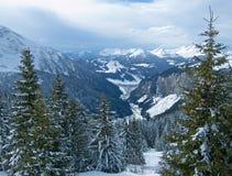Valle della montagna della neve Fotografia Stock Libera da Diritti