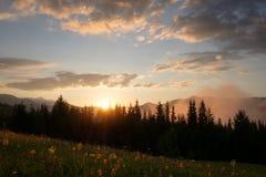 Valle della montagna durante l'alba Fotografie Stock Libere da Diritti
