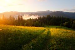 Valle della montagna durante l'alba Immagini Stock Libere da Diritti