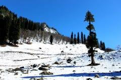 Valle della montagna della neve di inverno Fotografie Stock Libere da Diritti