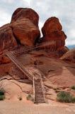 Valle della roccia di Atlatl del luogo del petroglifo di fuoco Nevada Immagine Stock