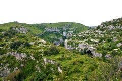 Valle di Anapo e riserva di Pantalica in Sicilia Fotografia Stock